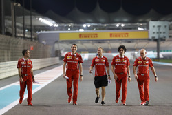Sebastian Vettel, Ferrari walks the track, Riccardo Adami, Ferrari Race Engineer and Jock Clear, Ferrari Chief Engineer