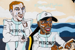 Artwork depicting Valtteri Bottas, Mercedes AMG F1, and Lewis Hamilton, Mercedes AMG F1