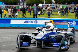 Kevin Pietersen, former English cricketer, takes the Formula E track car