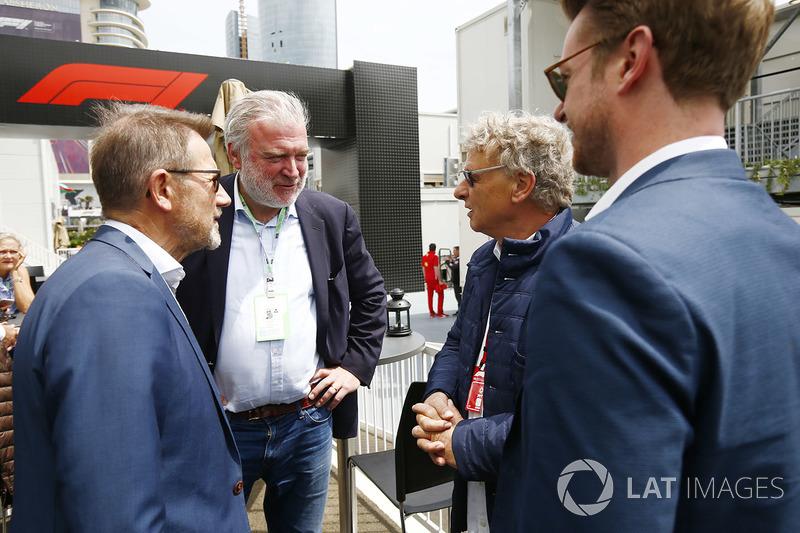 Hermann Tilke met Deens politicus Helge Sander en Lars Seier Christensen, CEO, Seier Capital