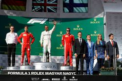 Podium: race winner Lewis Hamilton, Mercedes AMG F1, second place Sebastian Vettel, Ferrari, third place Kimi Raikkonen, Ferrari