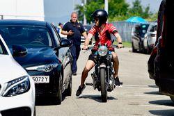 Sebastian Vettel, Ferrari on his Triumph motorbike