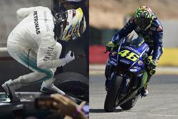 Lewis Hamilton et Valentino Rossi