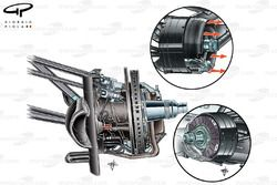 McLaren MP4-24 2009 front upright and brake detail