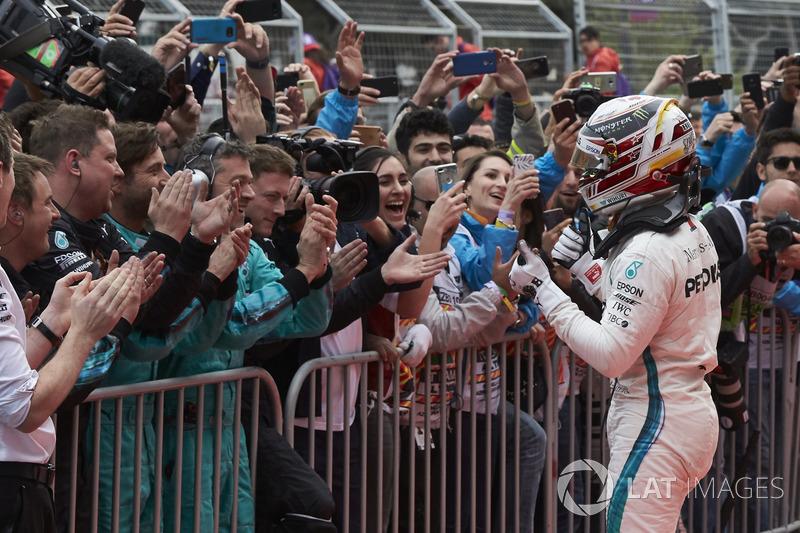 Lewis Hamilton, Mercedes AMG F1, 1st position, celebrates victory in Parc Ferme