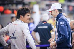 Lance Stroll, Williams and Esteban Ocon, Force India F1