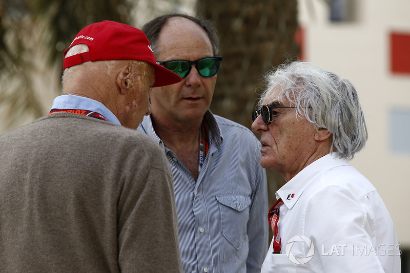 Niki Lauda, presidente non esecutivo Mercedes AMG F1, Gerhard Berger e Bernie Ecclestone