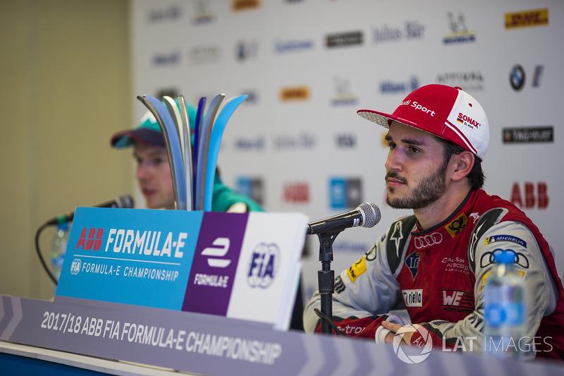 Daniel Abt, Audi Sport ABT Schaeffler, Oliver Turvey, NIO Formula E Team, en la rueda de prensa