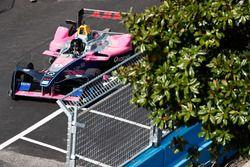 Racing driver, Giancarlo Fisichella, in the Formula E track car