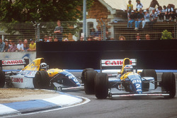 Alain Prost, Williams FW15C leads teammate Damon Hill, Williams FW15C