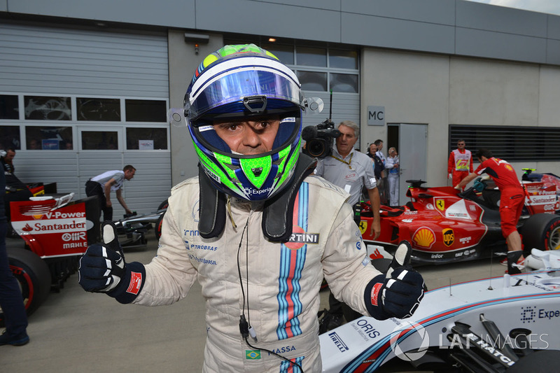 Pole sitter Felipe Massa, Williams celebrates in parc ferme
