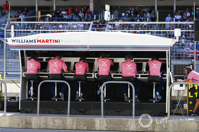 The Williams team on the pit wall