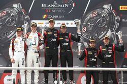 Podium: winners #17 Team WRT Audi R8 LMS: Stuart Leonard, Robin Frijns, second place #90 Akka ASP Me