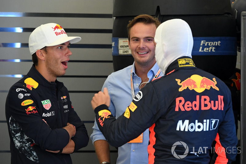 Max Verstappen, Red Bull Racing, Pierre Gasly, Red Bull Racing y Giedo van der Garde