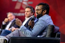 Jean Todt, President, FIA, Alejandro Agag, Formula E CEO, Zak Brown, Chairman, Motorsport Network and Avin Arumugam, SVP, Internet of Things, Visa