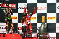 Podium: race winner Kenan Sofuoglu, Kawasaki Puccetti Racing, third place P.J. Jacobsen, MV Agusta