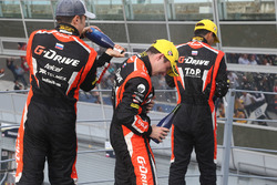 Podium LMP2 : les vainqueurs #22 G-Drive Racing, Oreca 07 - Gibson: Memo Rojas, Ryo Hirakawa, Leo Roussel