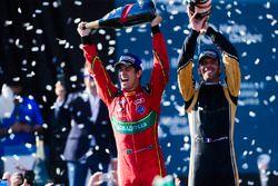Lucas di Grassi, ABT Schaeffler Audi Sport, and Jean-Eric Vergne, Techeetah, spray the champagne on