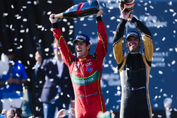 Lucas di Grassi, ABT Schaeffler Audi Sport, and Jean-Eric Vergne, Techeetah, spray the champagne on