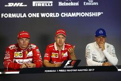 Press conference: race winner Sebastian Vettel, Ferrari, second place Kimi Raikkonen, Ferrari, third