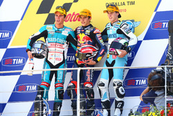 Podium: second place Nicolás Terol, Race winner Marc Marquez, third place Pol Espargaro