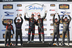 Podium ST: winners #17 RS1 Porsche Cayman: Nick Galante, Spencer Pumpelly, second place #44 CRG-I Do Borrow Nissan Altima Coupe: Sarah Cattaneo, Owen Trinkler, third place #56 Murillo Racing Porsche Cayman: Jeff Mosing, Eric Foss
