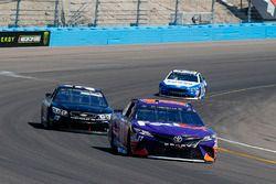 Denny Hamlin, Joe Gibbs Racing Toyota and Derrike Cope, Premium Motorsports Toyota