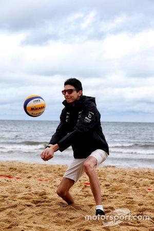 Esteban Ocon, Sahara Force India F1 Team plays volleyball on Brighton Beach