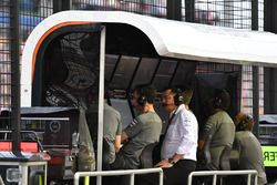 Eric Boullier, McLaren Racing Director on the pitwall gantry