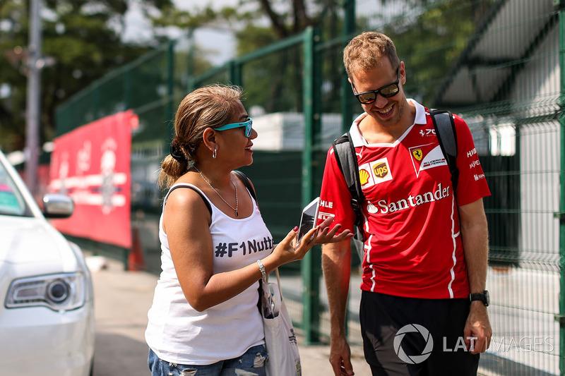 Sebastian Vettel, Ferrari and fan