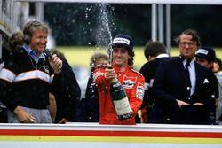 Alain Prost celebrates