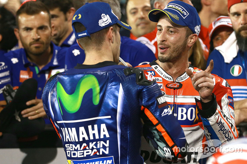 El ganador Maverick Viñales, Yamaha Factory Racing, Andrea Dovizioso, Ducati Team