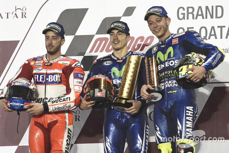 Podio: 1º Maverick Viñales, 2º Andrea Dovizioso, 3º Valentino Rossi