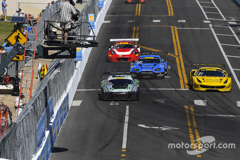 #44 Magnus Racing, Audi R8 LMS: John Potterr; #31 TR3 Racing, Ferrari 488 GT3: Daniel Mancinelli
