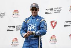 Second place Simon Pagenaud, Team Penske Chevrolet celebrating
