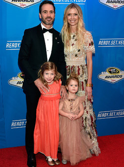 Champion Jimmie Johnson, Hendrick Motorsports Chevrolet and wife Chandra and kids