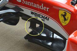 Les ailettes sous le châssis de la Ferrari SF16-H