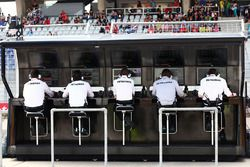 Le muret des standsMercedes AMG F1 pit gantry