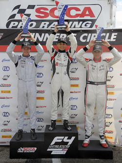 Podium: race winner Cameron Das, second place Kyle Kirkwood, third place Moises de la Vara