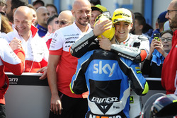 Winner Francesco Bagnaia, Aspar Team Mahindra and third place Andrea Migno, Sky Racing Team VR46