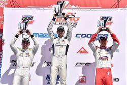 Podium: race winner Kyle Kaiser, Juncos Racing race, second place, Ed Jones, Carlin, third place R.C. Enerson, Schmidt Peterson Motorsports