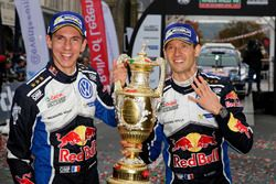 Winners Sébastien Ogier, Julien Ingrassia, Volkswagen Polo WRC, Volkswagen Motorsport with the trophy