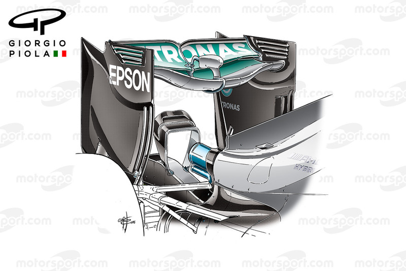 Mercedes W07 rear wing, Belgium GP