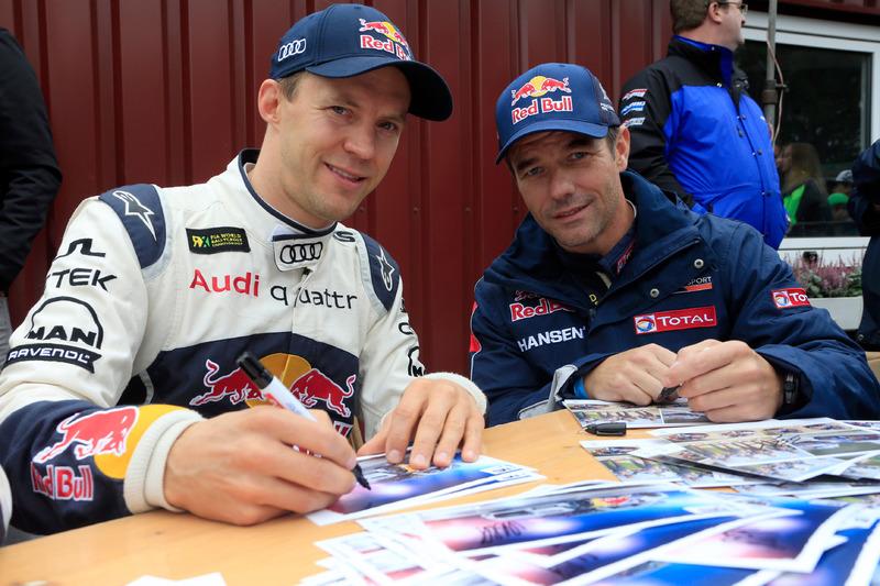 Mattias Ekström, EKS RX; Sébastien Loeb, Team Peugeot Hansen