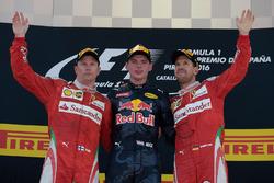 The podium: race winner Max Verstappen, Red Bull Racing, second place Kimi Raikonnen, Scuderia Ferrari, third place Sebastian Vettel, Scuderia Ferrari