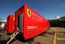 Kessel Racing trucks in the paddock