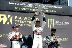 Podium: Winner Mattias Ekström, EKS RX; second place Toomas Heikkinen, EKS RX; third place Ken Block