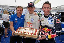 Sébastien Ogier, Julien Ingrassia, Volkswagen Polo WRC, Volkswagen Motorsport celebrate 100 WRC rall