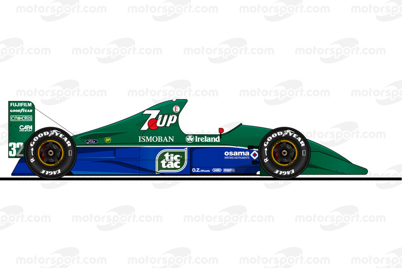 La Jordan 191 pilotée par Michael Schumacher en 1991<br/> Reproduction interdite, exclusivité Motors