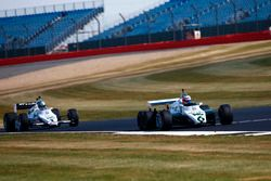 Jenson Button drives a 1982 Williams FW08B, ahead of Guy Martin in a 1983 Williams FW08C